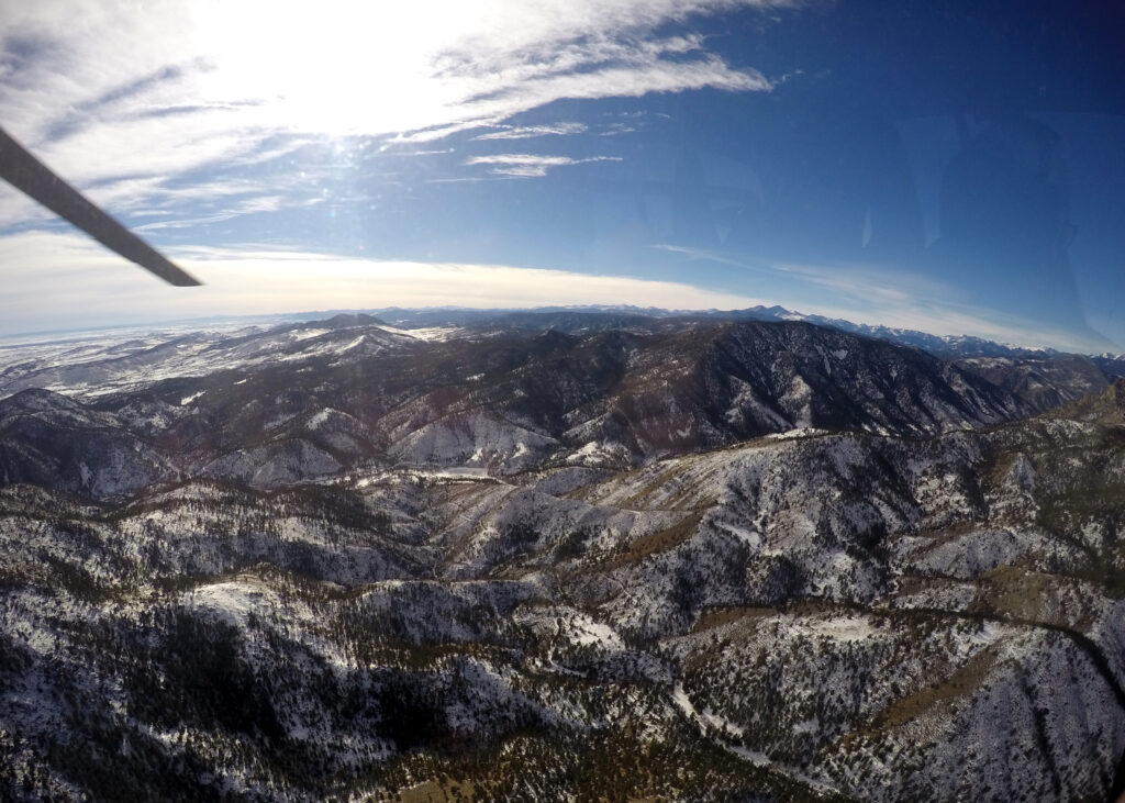 Aerial view of the Rocky Mountains